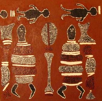 luca leonardo, interpretation of aboriginal art [30x30] acryl on canvas