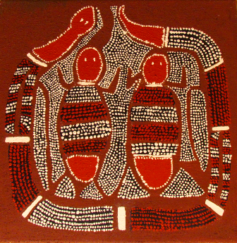 luca leonardo, interpretation of aboriginal art [30x30] acryl on canvas