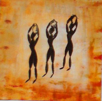 luca leonardo, 3 wasserträgerinnen, acrylic on canvas [50x50 cm]