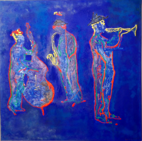 luca leonardo, bluejazz (2014) acrylic on canvas [80x80 cm]