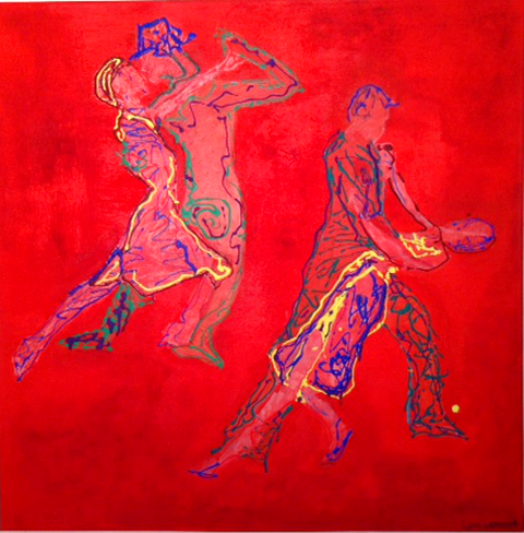 luca leonardo, redtango (2014) acrylic on canvas [80x80 cm]