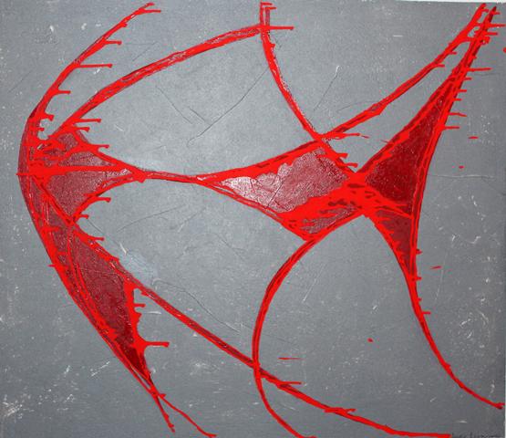 luca leonardo, Design Steinzeitfisch (2015) acrylic on canvas [100 x 100]