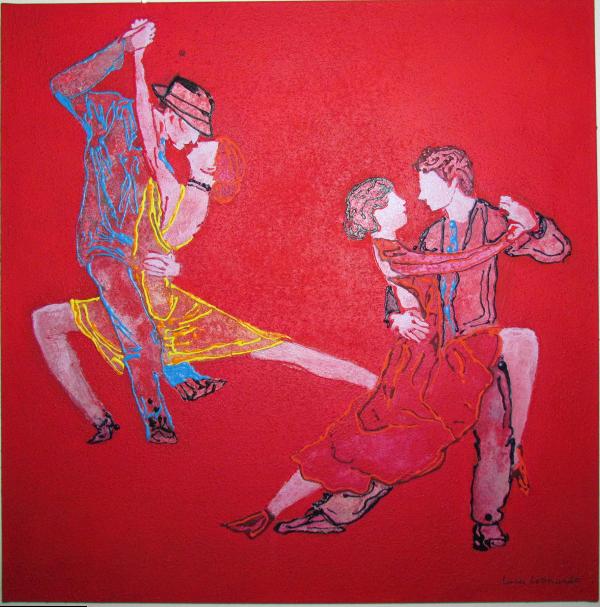 luca leonardo, red tango II (2016)  acrylic on canvas [80 x 80]